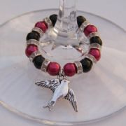 Bird Wine Glass Charm - Full Sparkle Style